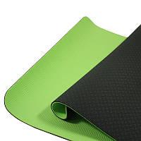 Коврик для фитнеса и йоги TPE двухслойный Meileer tpe-23 Black + Green каремат 1830*610*6mm
