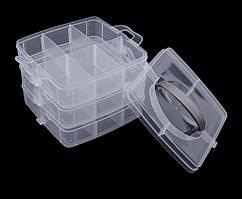 (15х15х12,5см) Органайзер с защёлкой для бисера, бусин, мелочей - 3 яруса Прозрачный