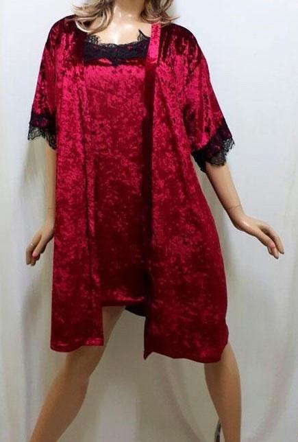 Красивый велюровый халат с ночной рубашкой большого размера