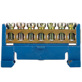 Шина нулевая на DIN-рейку 7 отверстий, фото 2