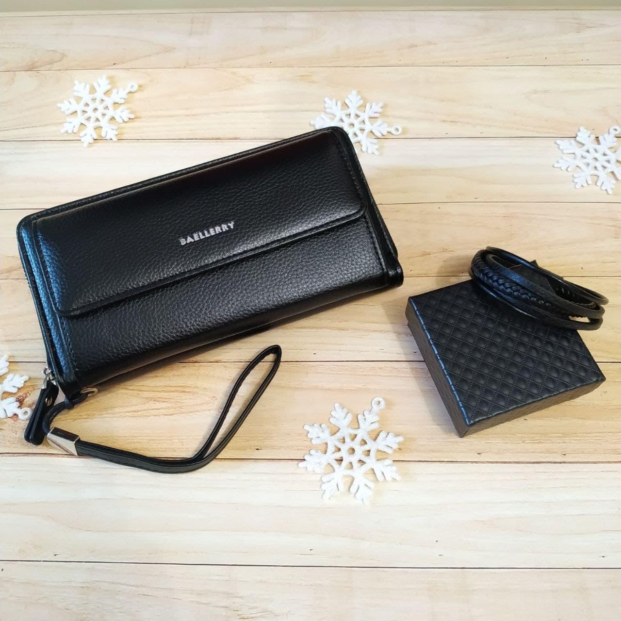 Подарунковий набір №23. Чоловічий клатч (гаманець) Baellerry Favorit + чоловічий браслет з шкіри Wicker