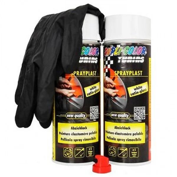 """Аэрозольная краска Motip Dupli Color с эффектом """"Жидкая резина"""" белая глянцевая 2*400 мл (388125)"""