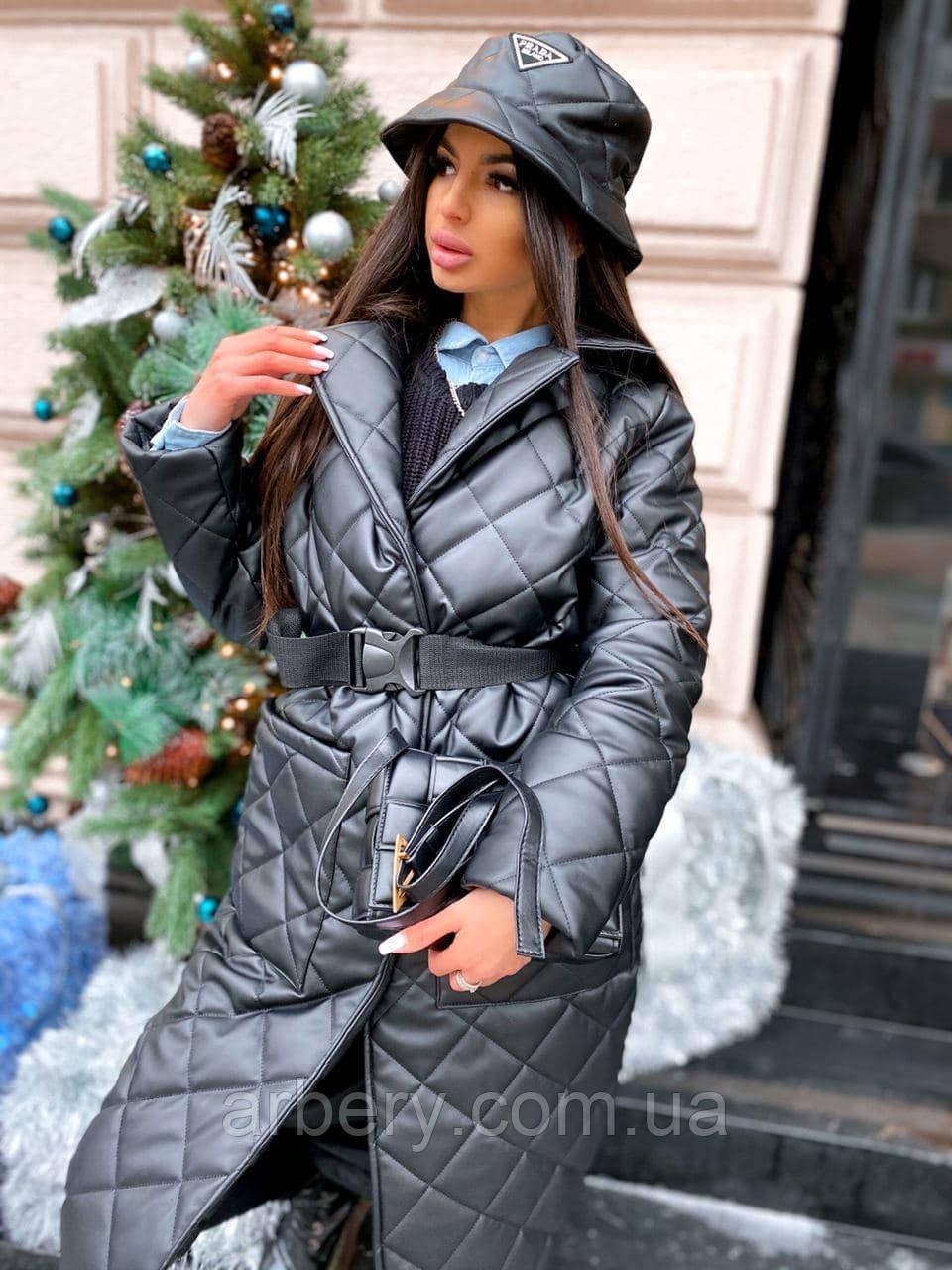 Женское кожаное стеганное пальто с поясом