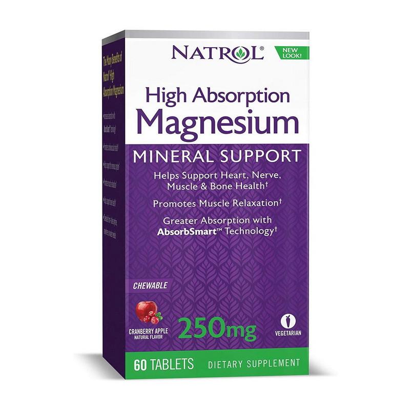Магній Natrol Magnesium High Absorption 250 mg 60 tabs