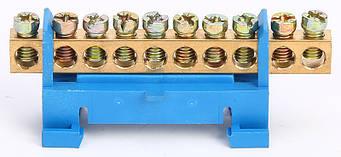 Шина нульова на DIN-рейку 10 отворів, фото 2