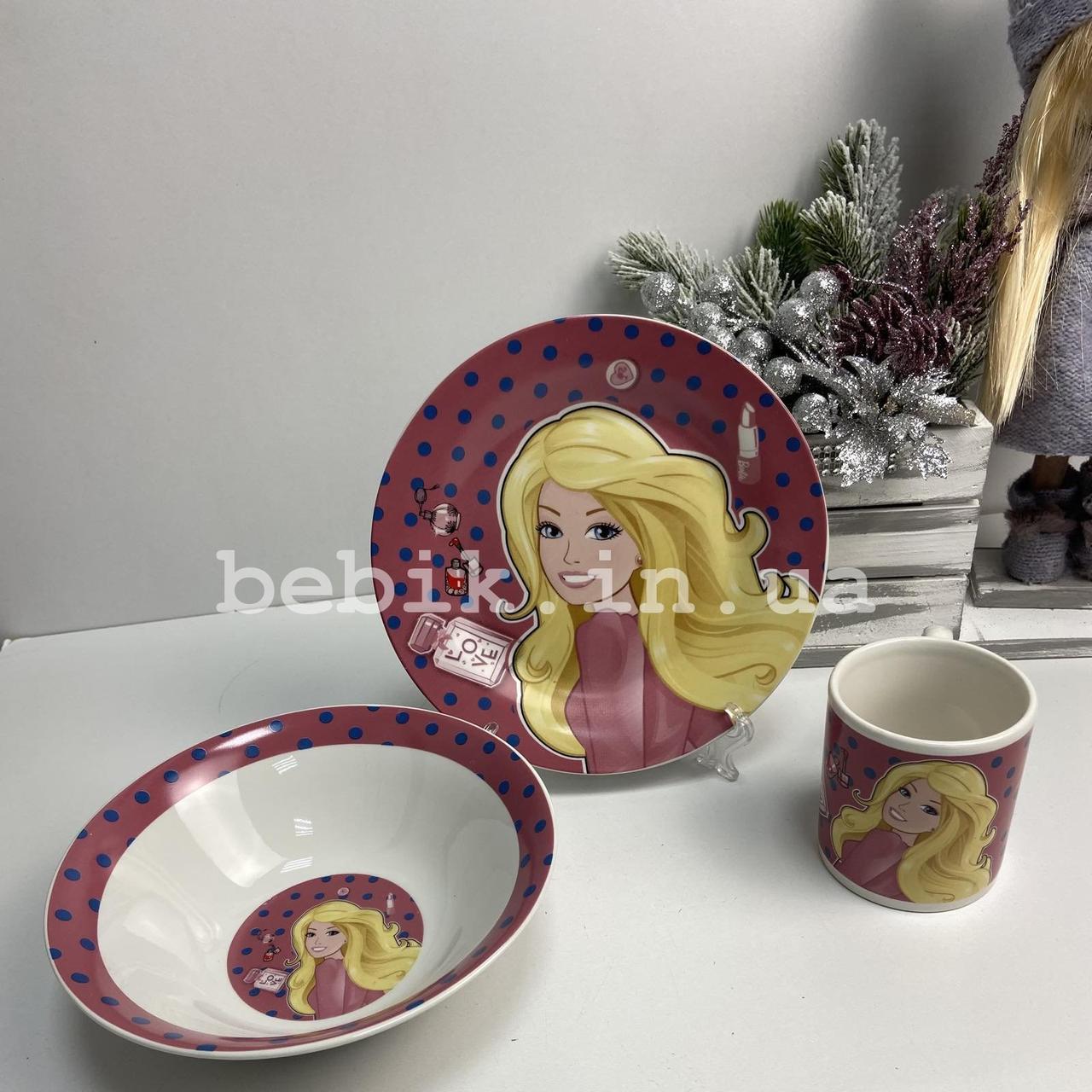 Керамический набор детской посуды Барби для девочек