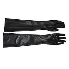 Черные латексные перчатки. Бесшовные латексные длинные перчатки, размер XL, фото 2