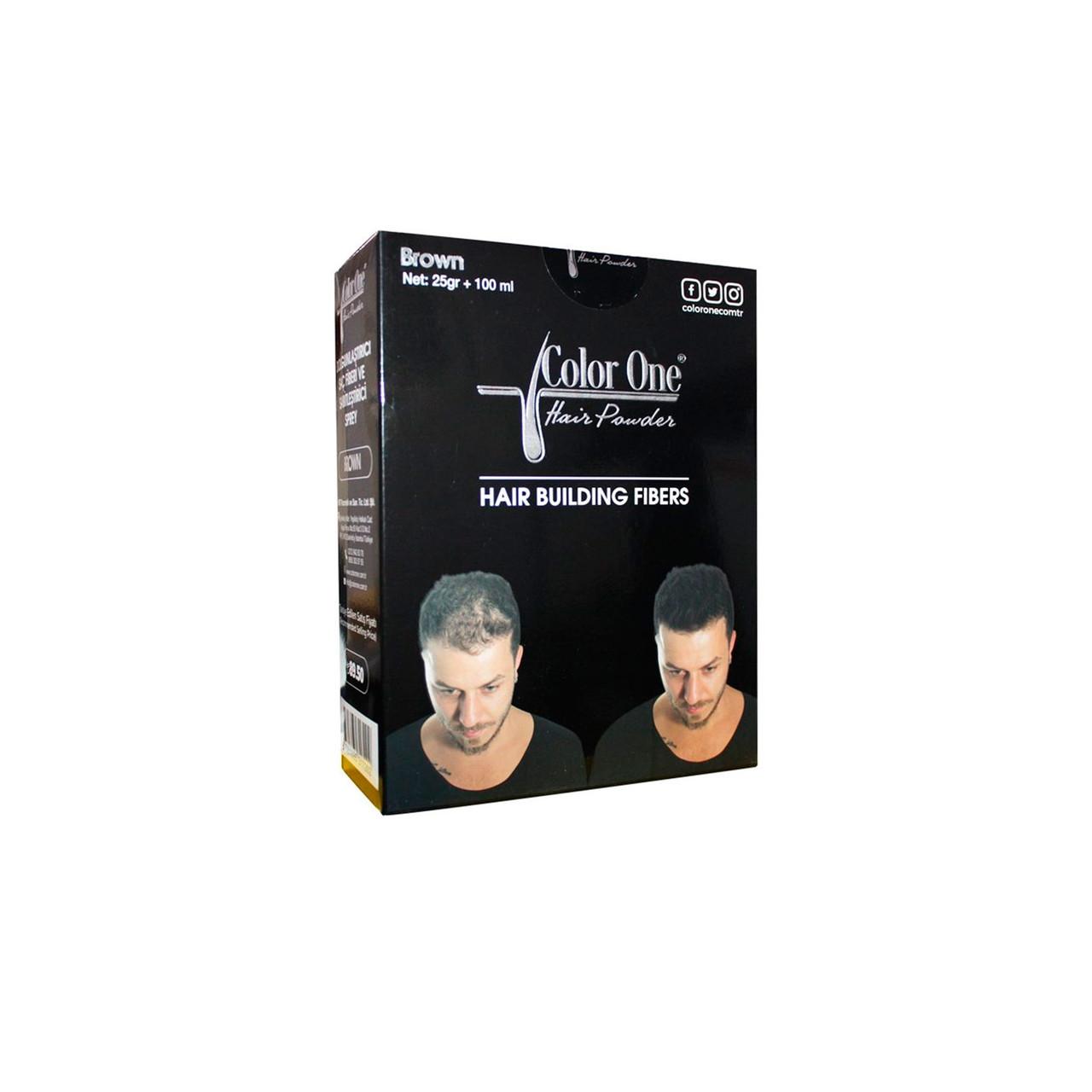 Набор для редеющих волос (пудра и спрей) Color One темно-коричневый цвет