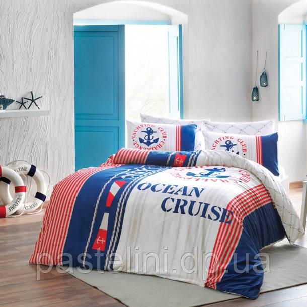 Евро комплект постельного белья сатин  Cruise red