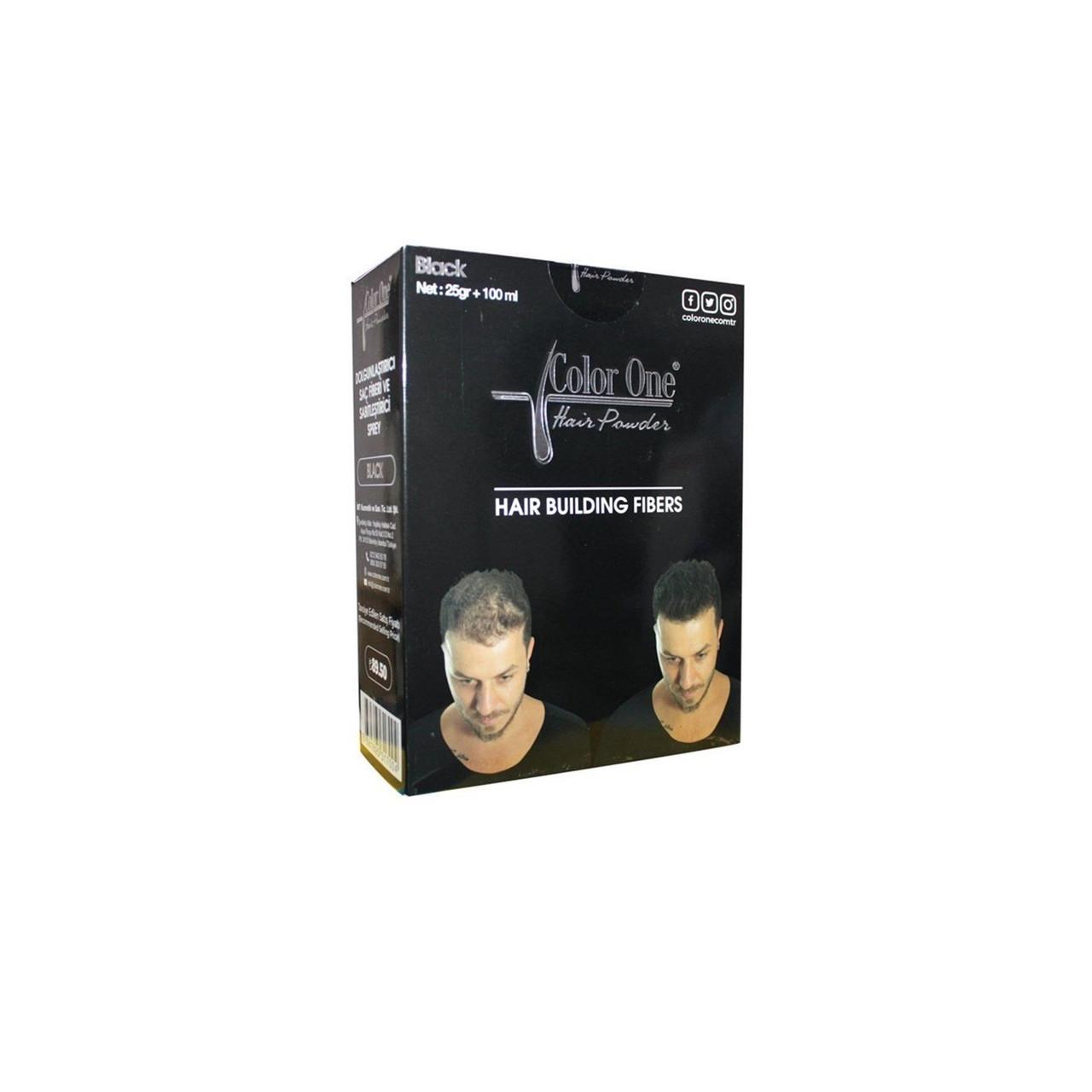 Набор для редеющих волос (пудра и спрей) Color One черный цвет