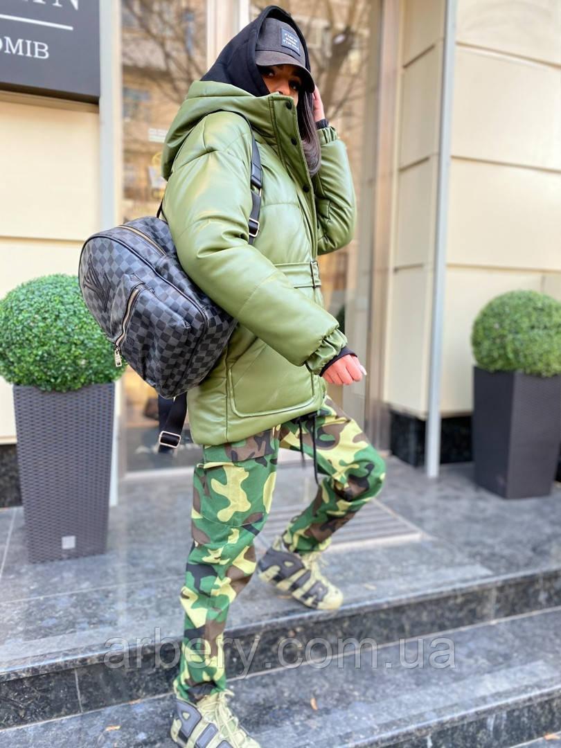 Шикарная зимняя кожаная куртка