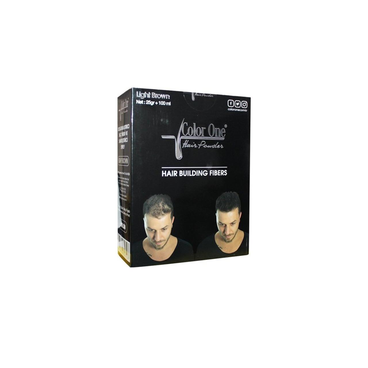 Набор для редеющих волос (пудра и спрей) Color One коричневый цвет