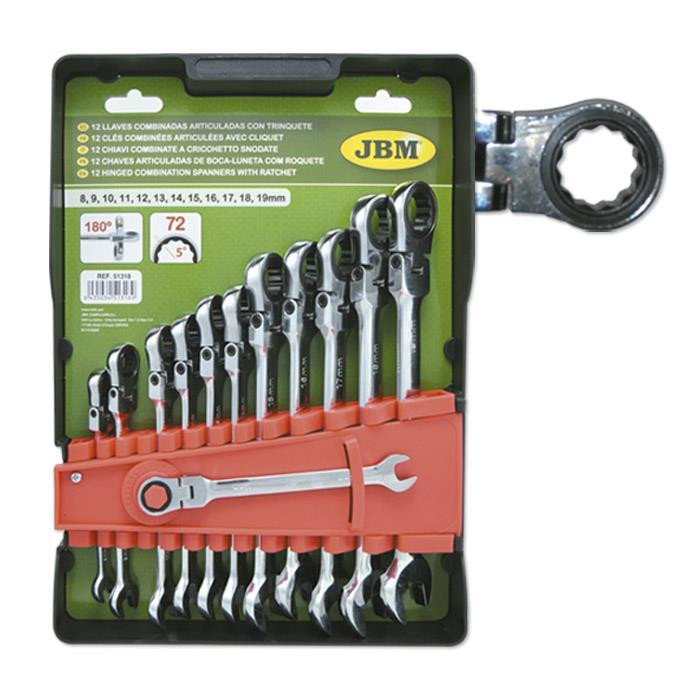 Набор комбинированных ключей с трещоткой и шарниром 12 ед. 51318 JBM