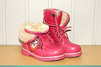 Ботинки зимние на меху на девочку 27-32 р малиновые
