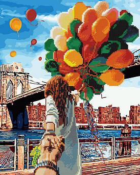 Алмазна мозаїка плюс картина за номерами Слідуй за мною Бруклінський міст (Без коробки) (GZS1006) 40 х 50 см