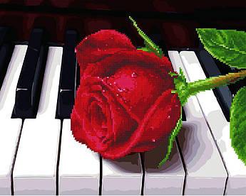 Алмазна мозаїка плюс картина за номерами Троянда і піаніно (Без коробки) Rainbow Art (GZS1018) 40 х 50 см