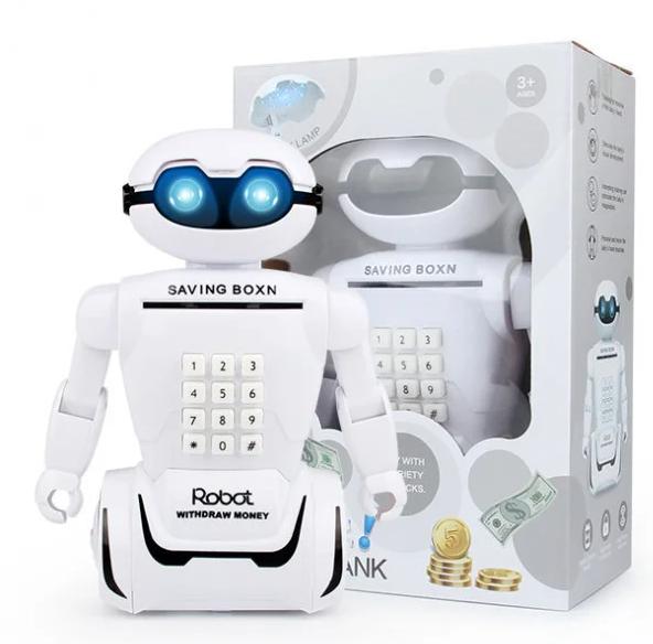 Электронная копилка робот с кодовым замком Robot Piggy Bank со светильником