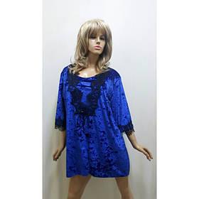Комплект тройка, пижама женская с шортами, размеры от 44 до 50