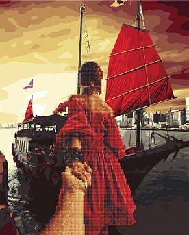Алмазна картина-раскраска Слідуй за мною. Червоні паруса (Без коробки) Rainbow Art (GZS1068) 40 х 50 см