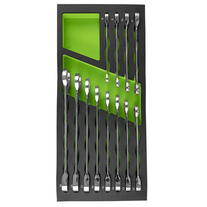 Набор комбинированных ключей с трещоткой 12 ед. в ложементе JBM