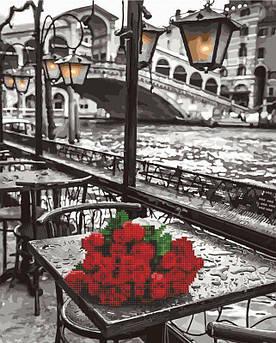 Алмазна картина-раскраска Троянди під дощем (Без коробки) Rainbow Art (GZS1090) 40 х 50 см