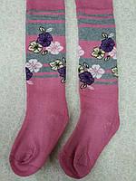 Колготки махровые  Розовый с цветами