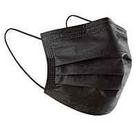 Маска для лица защитная медицинская трехслойная, черная (паянная)