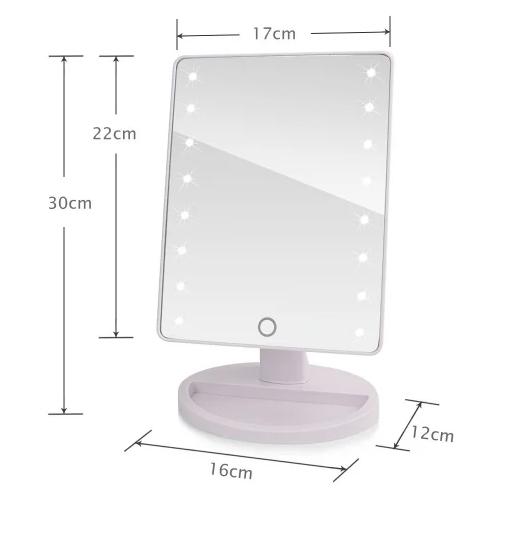 Зеркало с диодами, Зеркало с LED подсветкой прямоугольное, Настольное зеркало для макияжа