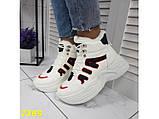 Зимние кроссовки ботинки спортивные на высокой массивной подошве белые с красным 37 р. (2389), фото 2