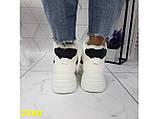 Зимние кроссовки ботинки спортивные на высокой массивной подошве белые с красным 37 р. (2389), фото 4