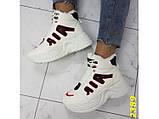 Зимние кроссовки ботинки спортивные на высокой массивной подошве белые с красным 37 р. (2389), фото 7