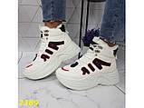 Зимние кроссовки ботинки спортивные на высокой массивной подошве белые с красным 37 р. (2389), фото 6