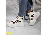 Зимние кроссовки ботинки спортивные на высокой массивной подошве белые с красным 37 р. (2389), фото 5