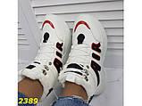 Зимние кроссовки ботинки спортивные на высокой массивной подошве белые с красным 37 р. (2389), фото 8