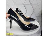 Класичні туфлі на низькому каблуці чорні 36, 38 р. (2390), фото 3