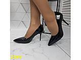 Класичні туфлі на низькому каблуці чорні 36, 38 р. (2390), фото 4