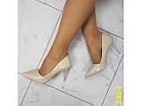 Туфли лодочки на низком каблуке бежевые 36, 38, 39, 40 (2394), фото 8