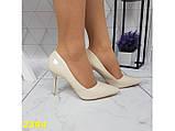 Туфли лодочки на низком каблуке бежевые 36, 38, 39, 40 (2394), фото 3