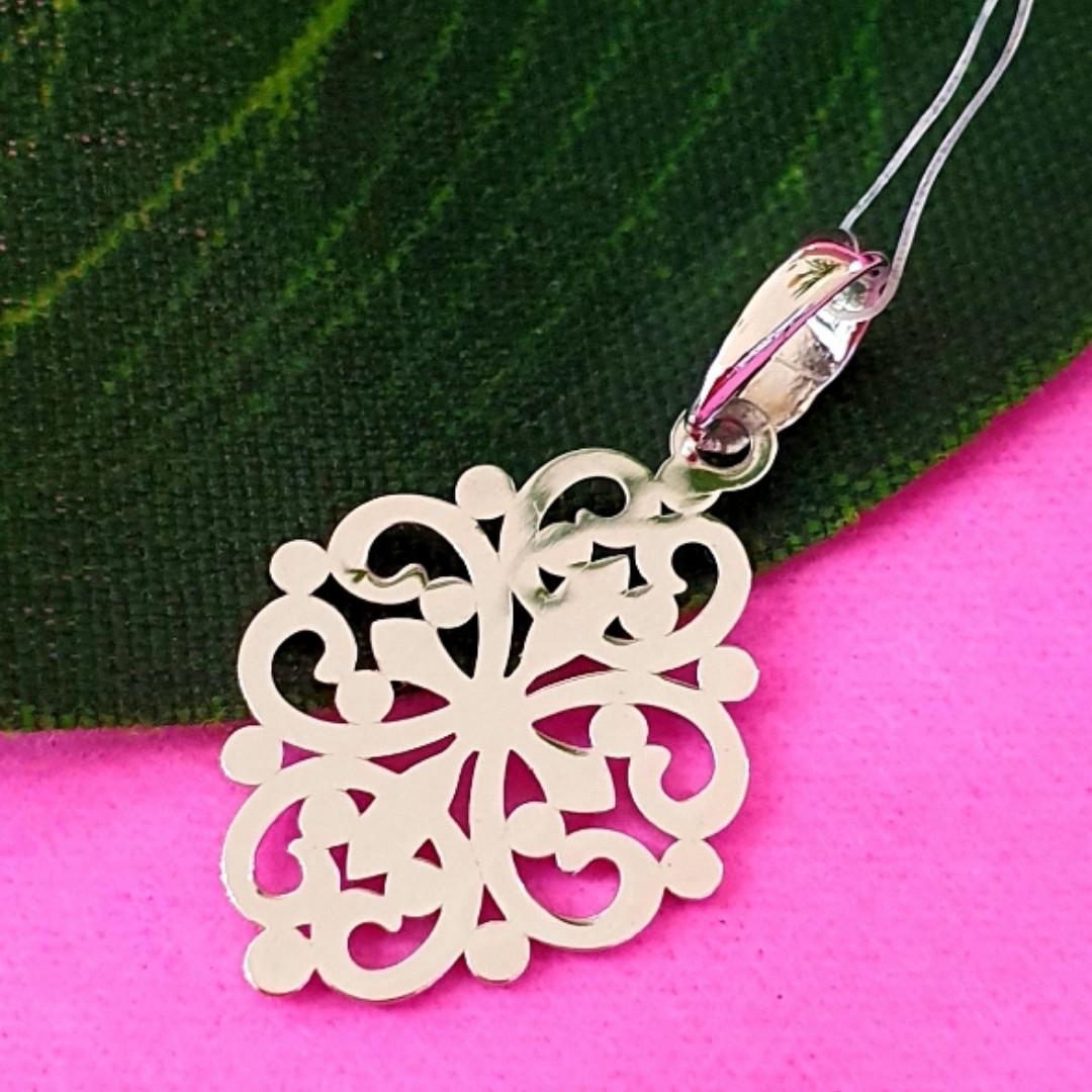 Ажурний срібний кулончик - Кулон мінімалізм срібло - Жіночий срібний кулон без каменів