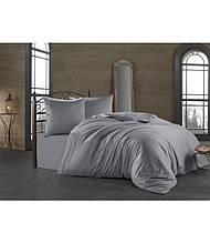 Комплект постельного белья Zugo home сатин однотонный полуторный размер Silver серебро
