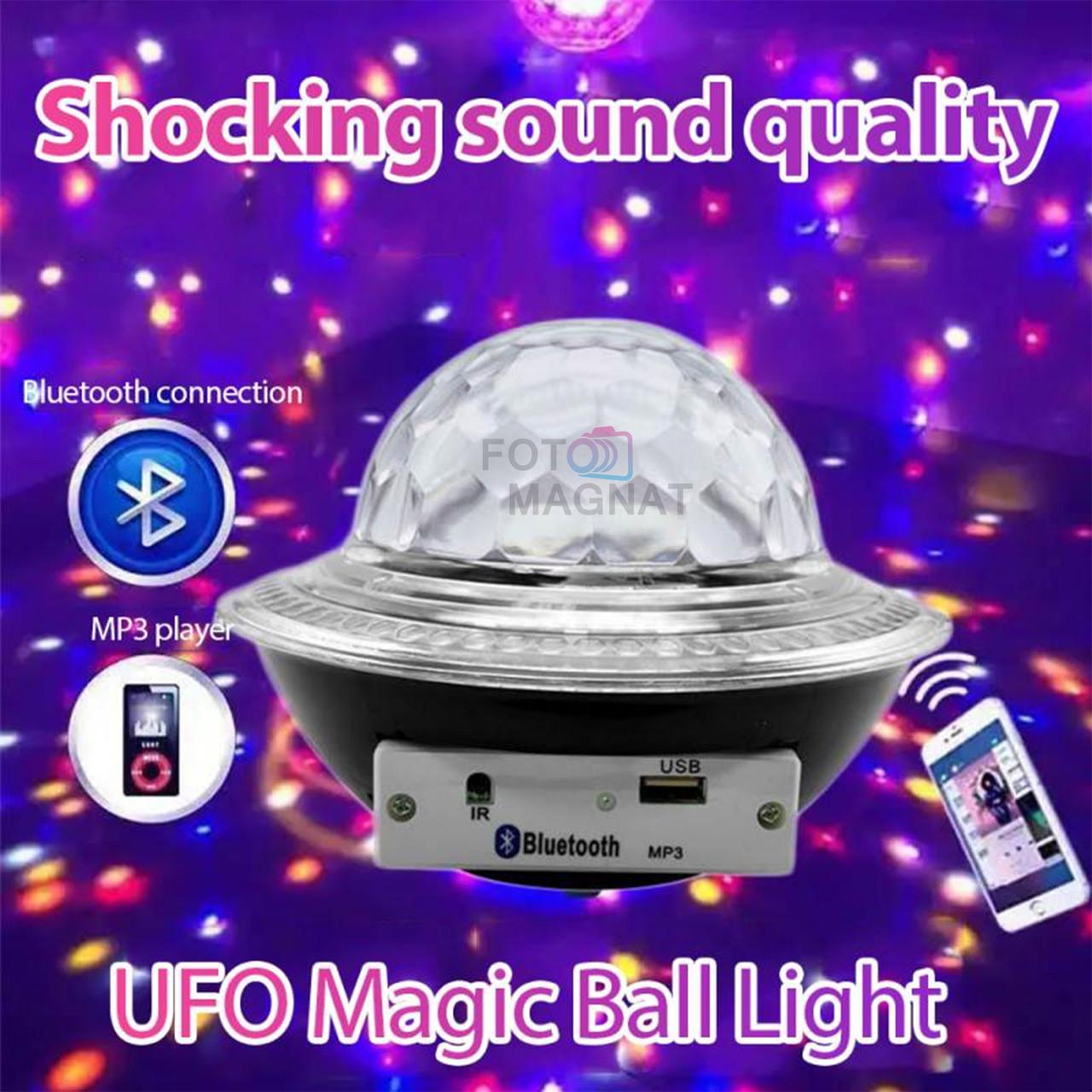 Диско лазер - Лазерний куля, CY-6740 UFO Bluetooth crystal magic ball, 220V, пульт Д/У