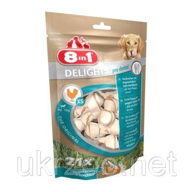 Лакомство для собак 8in1 Delights Кость для чистки зубов Pro Dental 7 см, 252 г / 21 шт. (курица) 117261