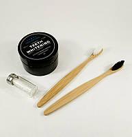 """Набор для гигиены полости рта """"Порошок отбеливающий + зубная нить в стекле +2 бамбуковые зубные щетки"""""""