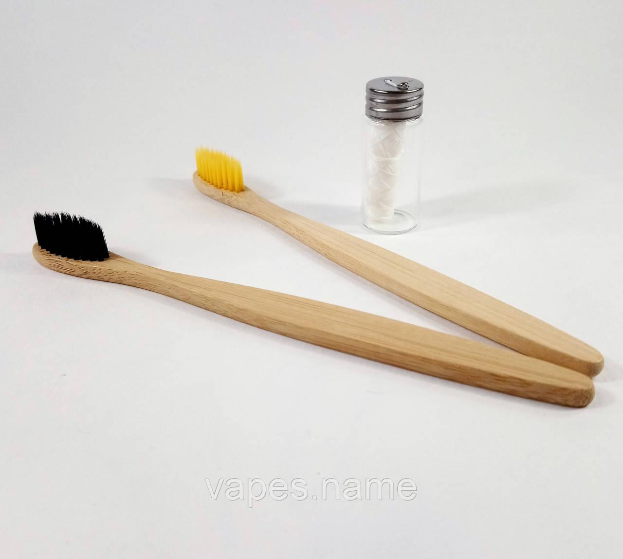 """Набор для гигиены полости рта """"Бамбуковая зубная щетка (2шт) + зубная нить (30м)"""