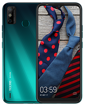 """Смартфон Tecno Spark 6 Go 2/32Gb с большим экраном 6,52"""" с мощной батареей со сканером отпечатка бирюзовый"""