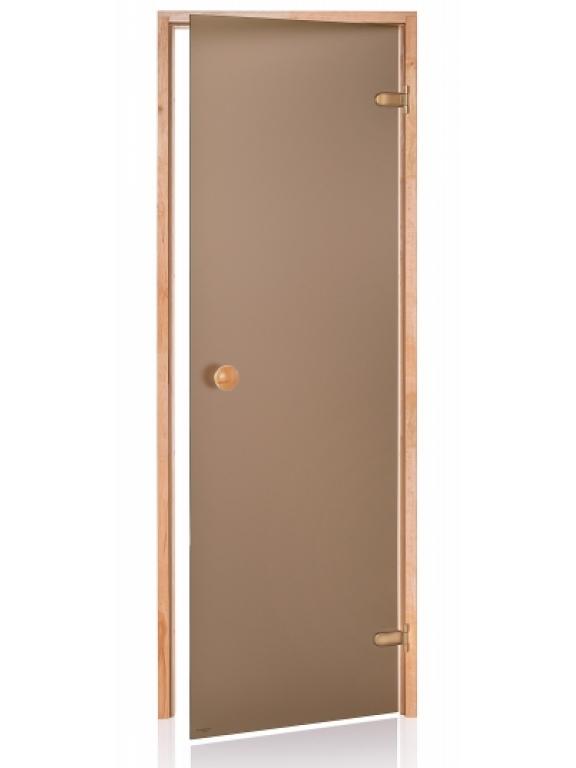 Стеклянная дверь Andres SCAN матовая бронзовая 70x210 см для бани и сауны (клён)