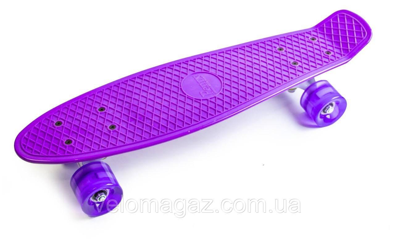 """Пенниборд 22"""" Фиолетовый цвет со светящимися колесами"""