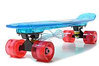 """Пенниборд 22"""" """"Light Music Led"""" Blue Светящиеся дека и колеса! Bluetooth, фото 1"""