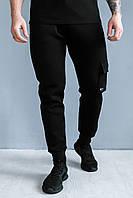 Теплые спортивные мужские штаны с манжетами, трикотаж на байке, фото 1