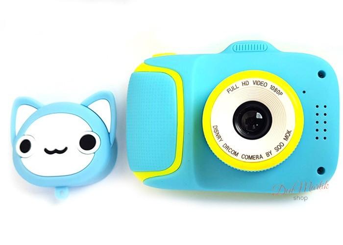 Детский цифровой мини фотоаппарат Cartoon Camera X11 Котик Голубой Kitty 40M